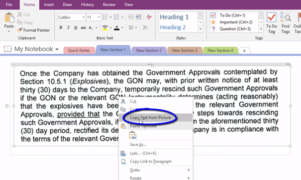 copy text from OneNote image