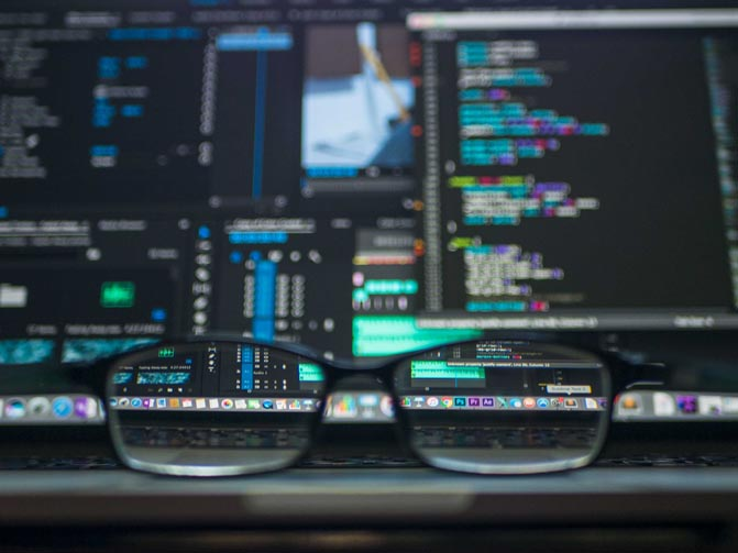 computer screen and glasses